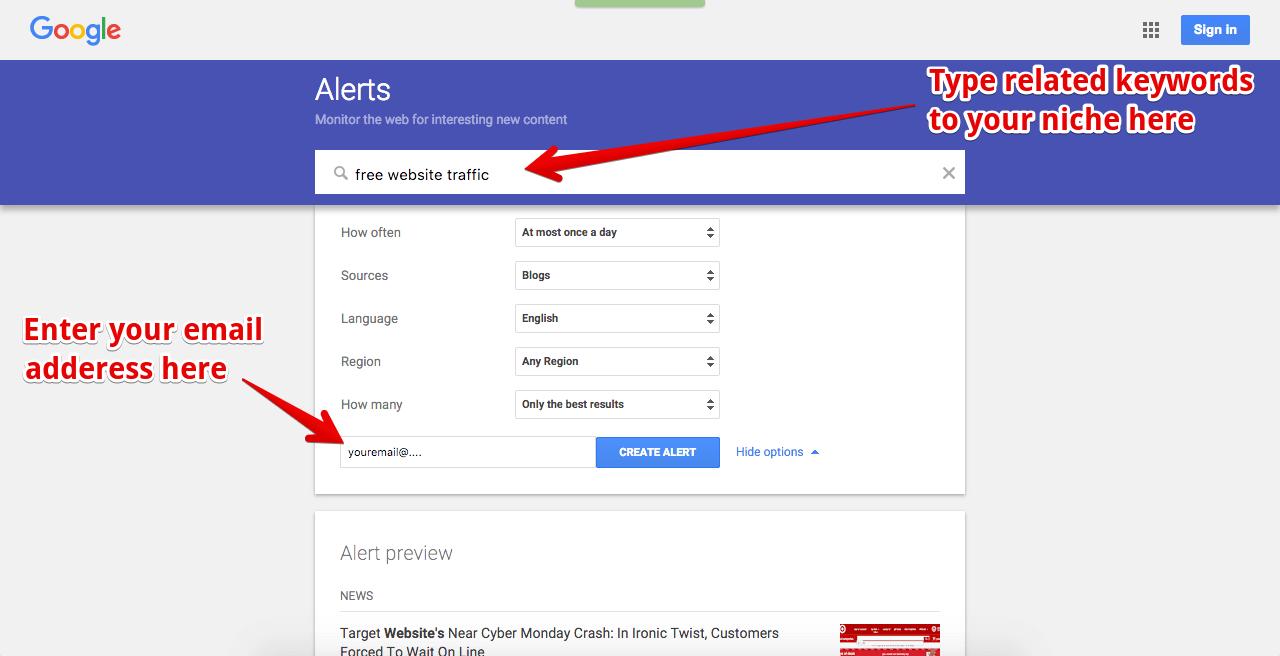 google alert example