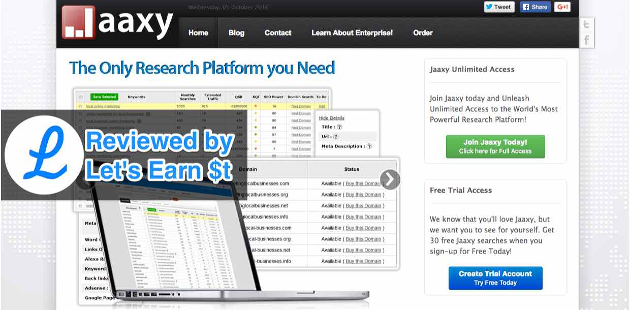 The Jaaxy keyword tool review